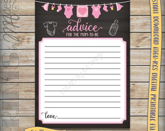 """Mom-to-Be Advice Cards, Advice for Mom Baby Shower Activity, Pink Clothesline, Girl, Chalkboard 5x7"""" Instant Download Digital Printable File"""