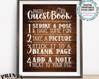 """Photo Guestbook Sign, Guest Book Wedding Sign, Graduation Memorybook Retirement Scrapbook, PRINTABLE 8x10/16x20"""" Rustic Wood Style Sign <ID>"""