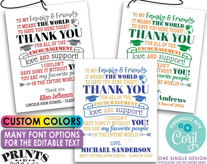 """Editable Graduation Tags, Grad Party Favors, Thank You Goodie Bags, Color PRINTABLE 8.5x11"""" Sheet of 4x5"""" Tags/Cards <Edit Yourself w/Corjl>"""