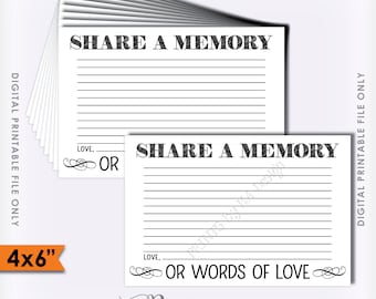 """Share a Memory Card, Share Memories, Please Leave a Memory, Memorial Card, Write a Memory, 4x6"""" Instant Download Digital Printable File"""