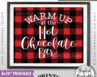 """Hot Chocolate Bar Sign, Warm Up at the Hot Chocolate Bar, Hot Chocolate Sign, Hot Cocoa, 8x10"""" Red Checker Style Printable Instant Download"""