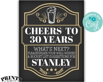 """Bucket List Sign, Cheers to Years Party Decoration, Cheers and Beers, Custom PRINTABLE 8x10/16x20"""" Sign <Edit Yourself with Corjl>"""