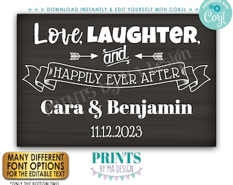 """Love Laughter and Happily Ever After Sign, Rehearsal, Engagement, PRINTABLE 24x36"""" Chalkboard Style Wedding Sign <Edit Yourself with Corjl>"""