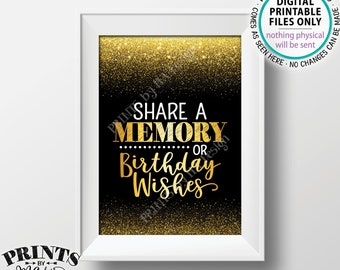 """Share a Memory or Birthday Wishes Sign, Birthday Party Decor, Birthday Wish, Memories Sign, PRINTABLE Black & Gold Glitter 5x7"""" B-day Sign"""