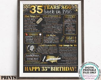 """35th Birthday Poster Board, Back in the Year 1986 Flashback 35 Years Ago B-day Gift, PRINTABLE 16x20"""" Born in 1986 Sign <ID>"""