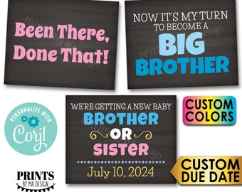 Pregnancy Announcement, Been There Done That, My Turn to Become a Big Brother, 3 PRINTABLE Baby #3 Reveal Signs <Edit Yourself with Corjl>