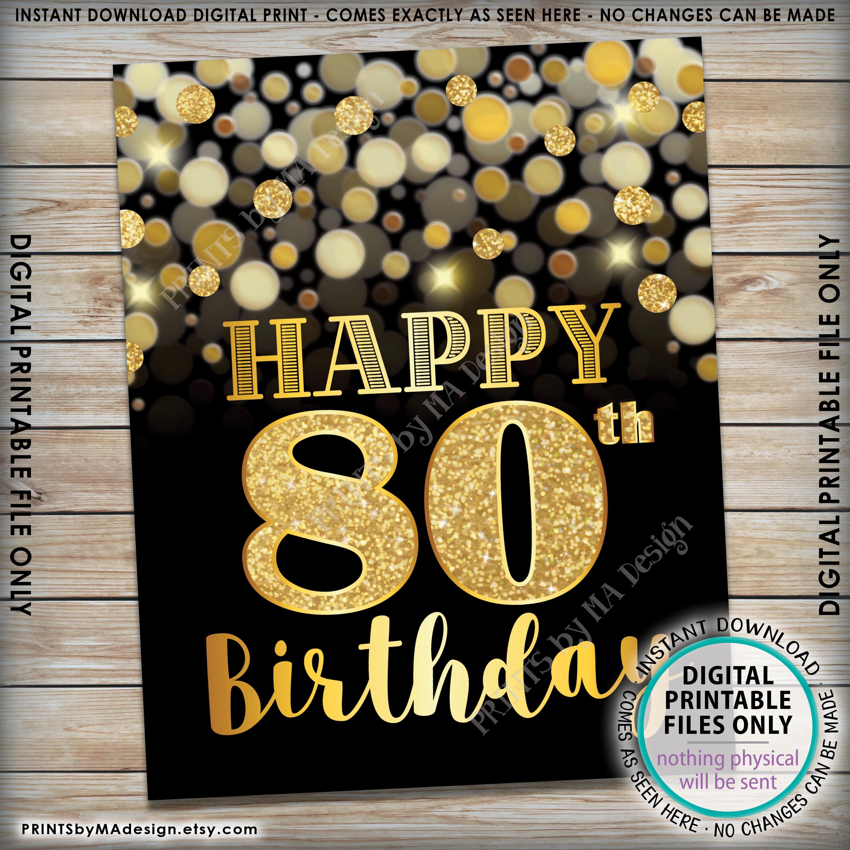 80th Birthday Sign Happy Birthday 80 Golden Birthday Card 80