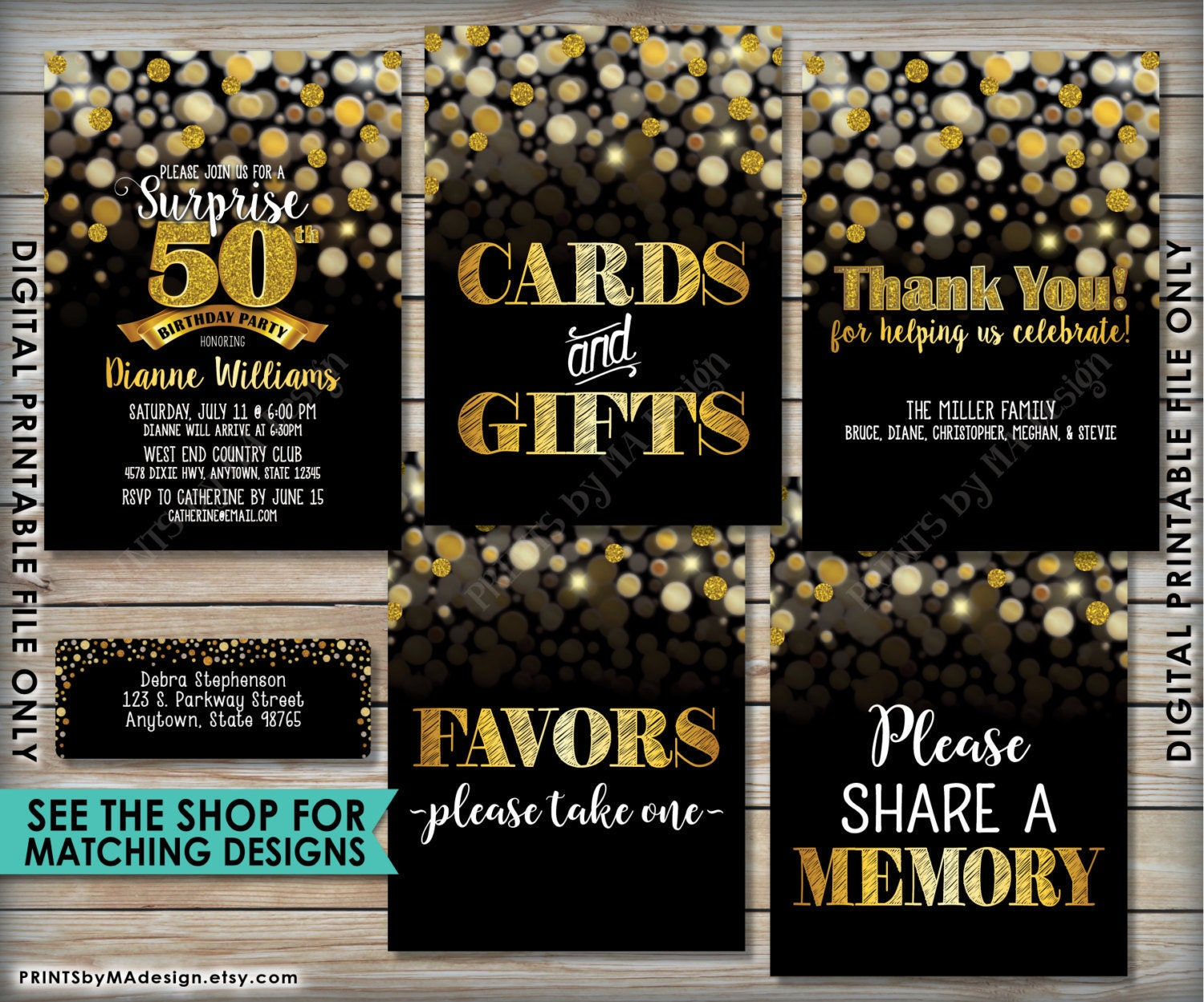 70th Birthday Sign Happy 70 Golden Card Years Black Gold Glitter 8x10 PRINTABLE Instant Download B Day