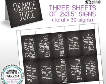 """Mimosa Bar Labels, Mimosa Menu Tags, Mom-osa, Bridal or Baby Shower Placecards, PRINTABLE 8.5x11"""" Sheet of 30 Chalkboard Style Signs <ID>"""