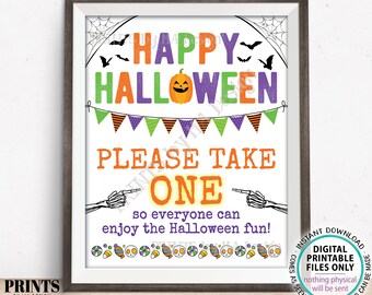 """Please Take One Treat Sign, Happy Halloween Trick-Or-Treat Sign, Passing Out Candy, Please Take a Treat, PRINTABLE 8x10/16x20"""" Sign <ID>"""