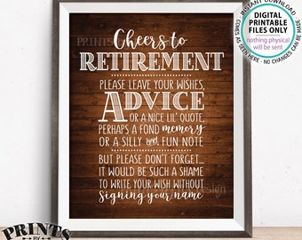 """Cheers to Retirement Party Sign, Leave Your Wish, Advice, or Memory for the Retiree Celebration, PRINTABLE Rustic Wood Style 8x10"""" Sign <ID>"""