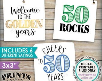 """50th Birthday Party Candy Signs, Color Candy Bar, 50 Sucks Blows Rocks, Kiss 40s Goodbye, Square 3x3"""" tags on PRINTABLE 8.5x11"""" Sheet <ID>"""