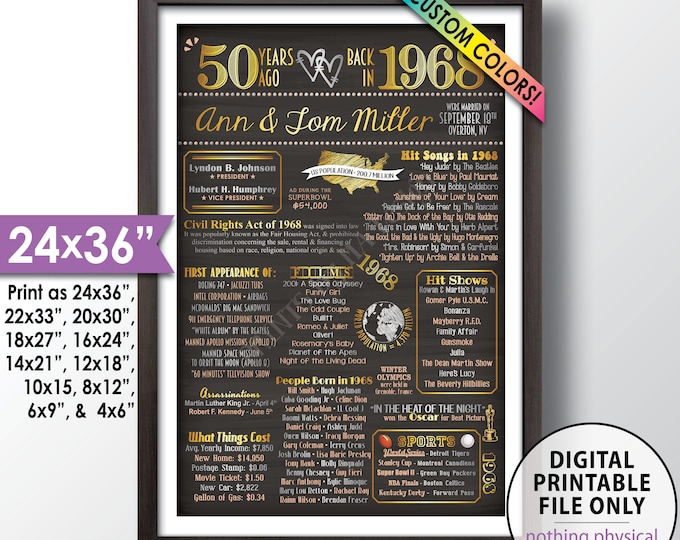 """50th Anniversary Gift, Married in 1968 Anniversary Poster, Flashback to 1968 Flashback in 1968, Chalkboard Style PRINTABLE 24x36"""" Poster"""