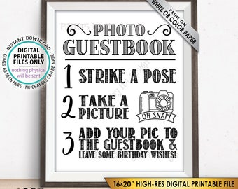 """Birthday Photo Guestbook Sign, Add Your Picture to the Guest Book and Leave Birthday Wishes Sign, PRINTABLE 8x10/16x20"""" Birthday Sign <ID>"""