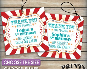 """Carnival Birthday Tags, Thank You Tags, Greatest Show on Earth B-day Carnival Themed Party, Circus, Choose Tag Size, 8.5x11"""" PRINTABLE Sheet"""