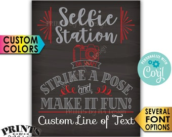 """Selfie Station Sign, Srike a Pose & Make it Fun, Custom PRINTABLE 8x10/16x20"""" Chalkboard Style Sign <Edit Yourself with Corjl>"""