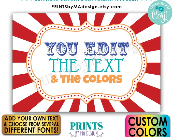 """Editable Carnival Sign, Carnival Theme Party Sign, Circus Birthday Party, One Custom PRINTABLE 24x36"""" Landscape Sign <Edit Yourself w/Corjl>"""