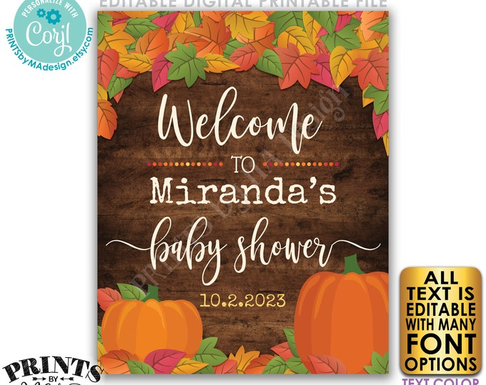 """Editable Fall Themed Baby Shower Sign, PRINTABLE Rustic Wood Style 16x20"""" Fall in Love with Baby Welcome Poster <Edit Yourself w/Corjl>"""