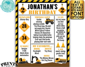"""Editable Truck Birthday Poster, Yellow Tractor Milestones Sign, Personalized PRINTABLE 8x10/16x20"""" B-day Sign <Edit Yourself w/Corjl>"""