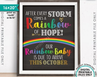 "Rainbow Baby Pregnancy Announcement, Pregnancy Reveal After Loss, Due in OCTOBER Dated Chalkboard Style PRINTABLE 8x10/16x20"" Sign <ID>"