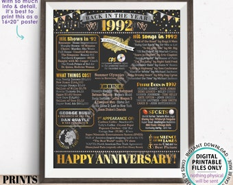 """Back in the Year 1992 Anniversary Sign, Flashback to 1992 Anniversary Decor, Anniversary Gift, PRINTABLE 16x20"""" Poster Board <ID>"""