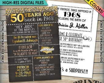 "50th Birthday Invitation, 1968 Invite, Born in 1968 Flashback 50 Years Ago, 50th Invite, 50th Bday 5x7"" Chalkboard Style Digital Printables"
