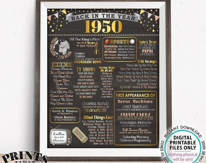 """Back in the Year 1950 Poster Board, Remember 1950 Sign, Flashback to 1950 USA History from 1950, PRINTABLE 16x20"""" Sign <ID>"""
