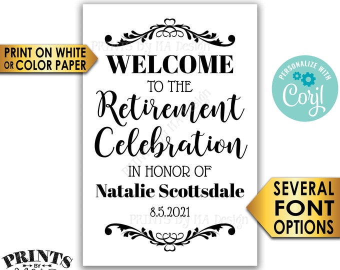 """Retirement Party Sign, Welcome to the Retirement Celebration, Custom PRINTABLE 24x36"""" Black & White Sign <Edit Yourself with Corjl>"""