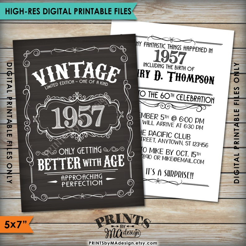 Vintage Birthday Invitation Better With Age Whiskey Themed
