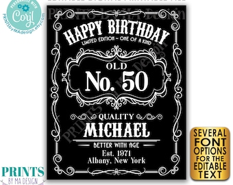 """Happy Birthday Sign, Vintage Whiskey Themed Birthday Poster, Better with Age, PRINTABLE 16x20"""" Black & White Sign <Edit Yourself with Corjl>"""