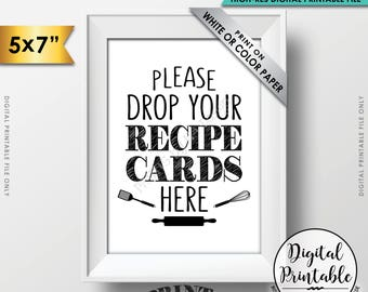 """Drop your Recipe Card Here Sign, Recipe Card Drop-off, Bridal Shower Recipe Card Sign, Wedding Shower, 5x7"""" Printable Instant Download"""