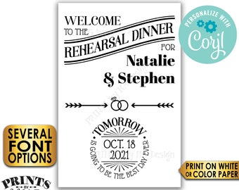 """Rehearsal Dinner Sign, Tomorrow is Going to Be The Best Day Ever, PRINTABLE 24x36"""" Wedding Rehearsal Sign <Edit Yourself with Corjl>"""