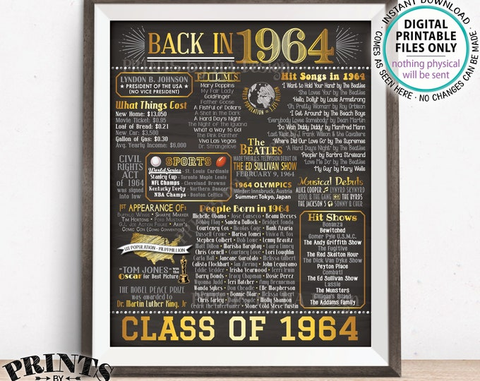 """Class of 1964 Reunion Flashback Poster, 54 Years Ago Back in 1964 Flashback to 1964, Gold, PRINTABLE 8x10/16x20"""" Chalkboard Style Sign <ID>"""