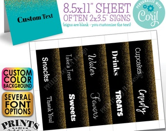 """Custom Gold Glitter Place Cards, Buffet Food Labels, One Custom PRINTABLE 8.5x11"""" Sheet of 2x3.5"""" Cards <Edit Yourself with Corjl>"""