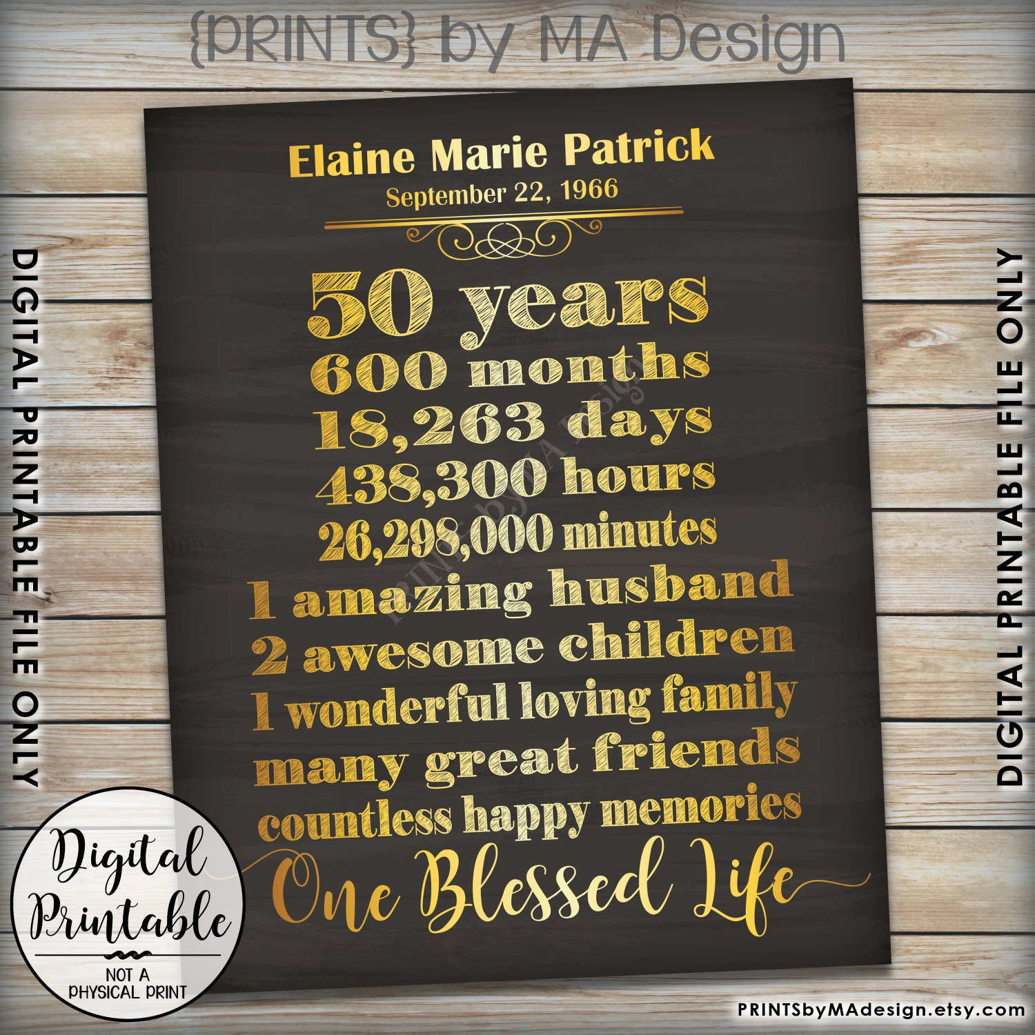 50th Birthday Gift 50 Years Of Milestones Celebrate Life In Yrs Present 8x10 16x20 Chalkboard Style Printable Sign