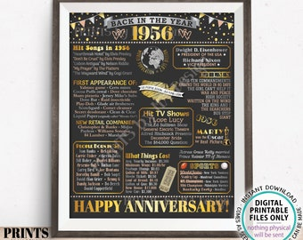 """Back in the Year 1956 Anniversary Sign, Flashback to 1956 Anniversary Decor, Anniversary Gift, PRINTABLE 16x20"""" Poster Board <ID>"""