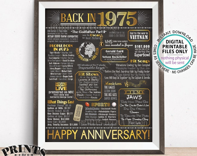 """1975 Anniversary Poster, Back in 1975 Anniversary Gift, Flashback to 1975 Party Decoration, PRINTABLE 16x20"""" Sign <ID>"""