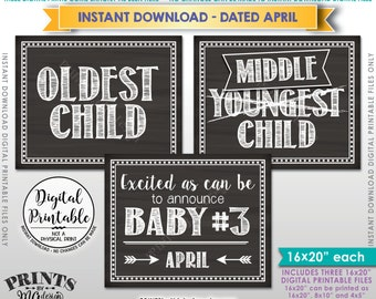 Baby #3 Pregnancy Announcement, Oldest Middle Youngest, No 3, 3rd Baby due in APRIL Dated Chalkboard Style PRINTABLE Baby Reveal Signs <ID>