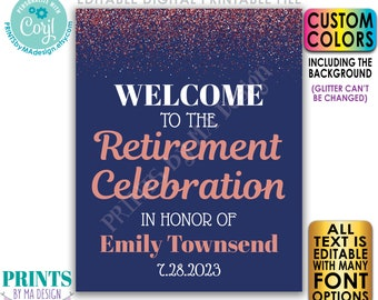 """Editable Retirement Party Welcome Sign, Retirement Celebration, Rose Gold Glitter, Custom PRINTABLE 16x20"""" Sign <Edit Yourself w/Corjl>"""