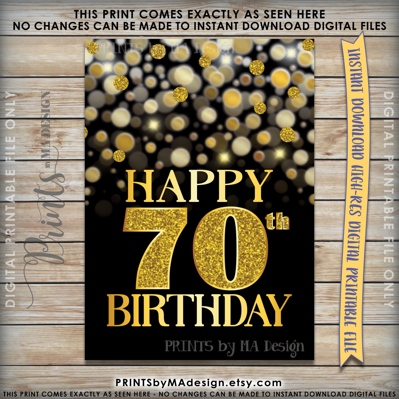 70th Birthday Card Black Gold Glitter B Day Golden Bokeh