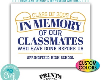 """Reunion Memorial, In Memory of the Classmates Who Have Gone Before Us, PRINTABLE 8x10/16x20""""  In Memoriam Sign <Edit Yourself with Corjl>"""