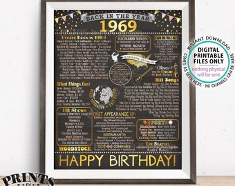 """Back in 1969 Birthday Sign, Flashback to 1969 Poster Board, '69 B-day Gift, Bday Decoration, PRINTABLE 16x20"""" Sign <ID>"""