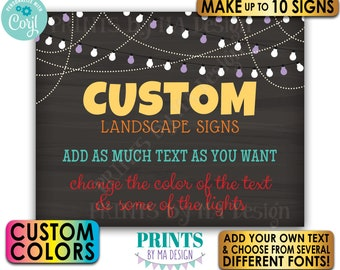 """Custom Chalkboard Style Posters with Lights, Choose Text & Colors, Up to 10 PRINTABLE 8x10/16x20"""" Landscape Signs <Edit Yourself w/Corjl>"""