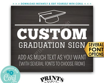"Custom Graduation Party Decoration, Choose Text, Editable PRINTABLE 8x10/16x20"" Landscape Chalkboard Style Sign <Edit Yourself with Corjl>"