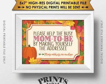 """Baby Shower Address Envelope Sign, Help the Mom-to-Be Address an Envelope, Fall Theme Shower, Autumn Theme PRINTABLE 5x7"""" Sign <ID>"""