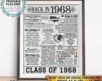 "Class of 1968 Graduation Reunion 1968 Graduating Class Flashback 50 Years 50th Reunion, Textured Paper Style PRINTABLE 8x10/16x20"" Sign <ID>"