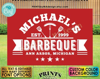 """Editable BBQ Sign, Backyard Barbecue, Barbie Grill Smokehouse, Custom Color Background, PRINTABLE 24x36"""" Sign <Edit Yourself w/Corjl>"""