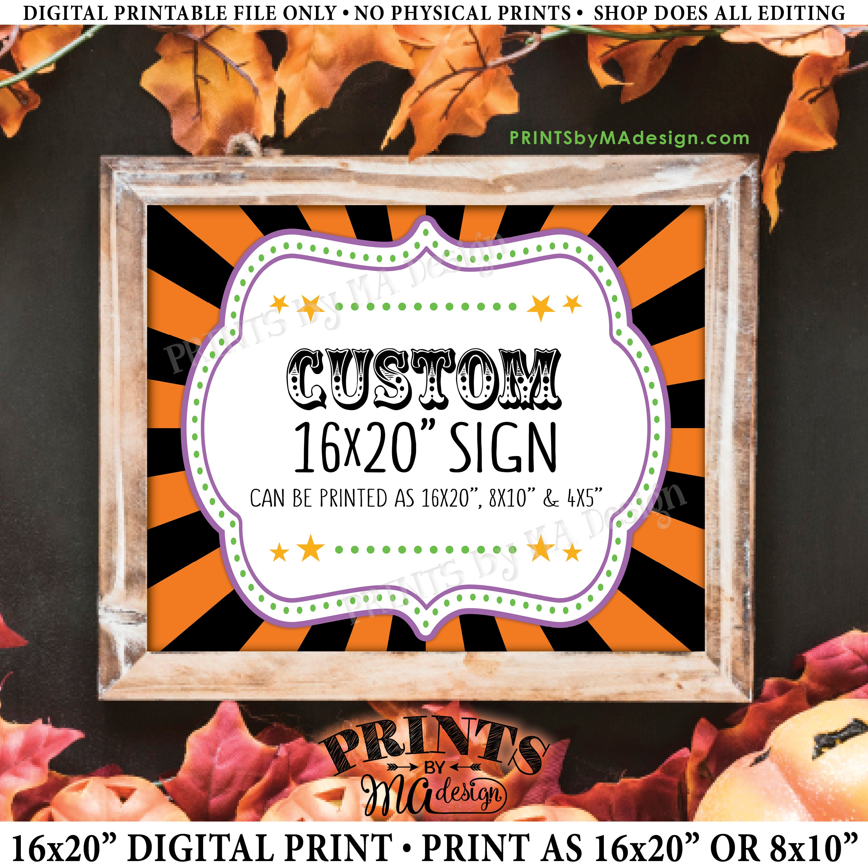 custom halloween carnival sign choose your text circus theme