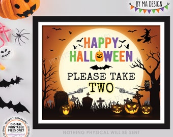 """Please Take Some Candy Sign, Happy Halloween, Trick-Or-Treat, Moon Bats Pumpkins, PRINTABLE 8x10/16x20"""" Please Take Two Treats Sign <ID>"""