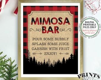 "Lumberjack Mimosa Bar Sign, Make your own Mimosa, Bridal Shower Birthday Brunch, Red Checker Plaid, Christmas, PRINTABLE 8x10"" Sign <ID>"